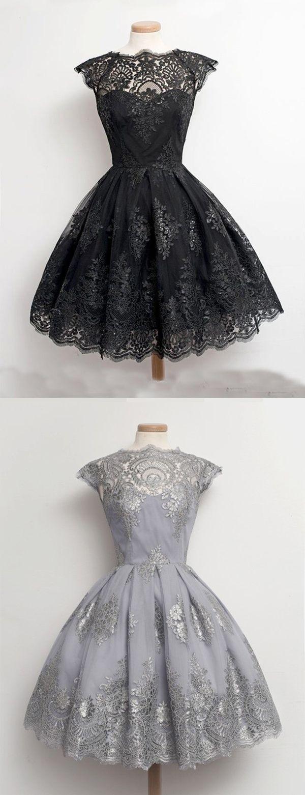 Vintage Scalloped-Edge Cap Sleeves Knee-Length Black Lace Homecoming Dress…