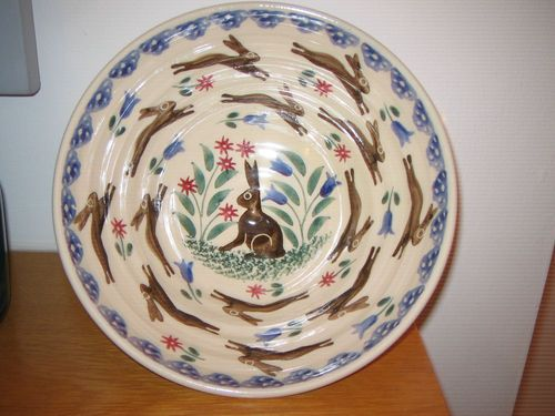 Bell Pottery LEAPING HARES spongeware bowl