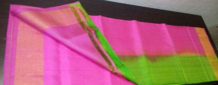 Pink and green uppada pure silk saree
