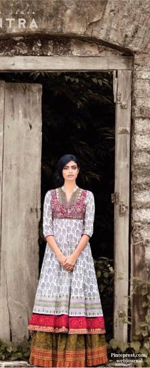 Shalini James' Mantra: Indian by Choice Collection with kantha embroidery, Jaipur block prints, Ikat Kalamkari prints - http://www.mantraonline.net/