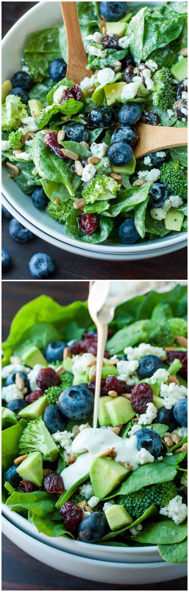 BLUEBERRY BROCCOLI SPINACH SALAD WITH POPPYSEED RANCH | Tasty Food Collection