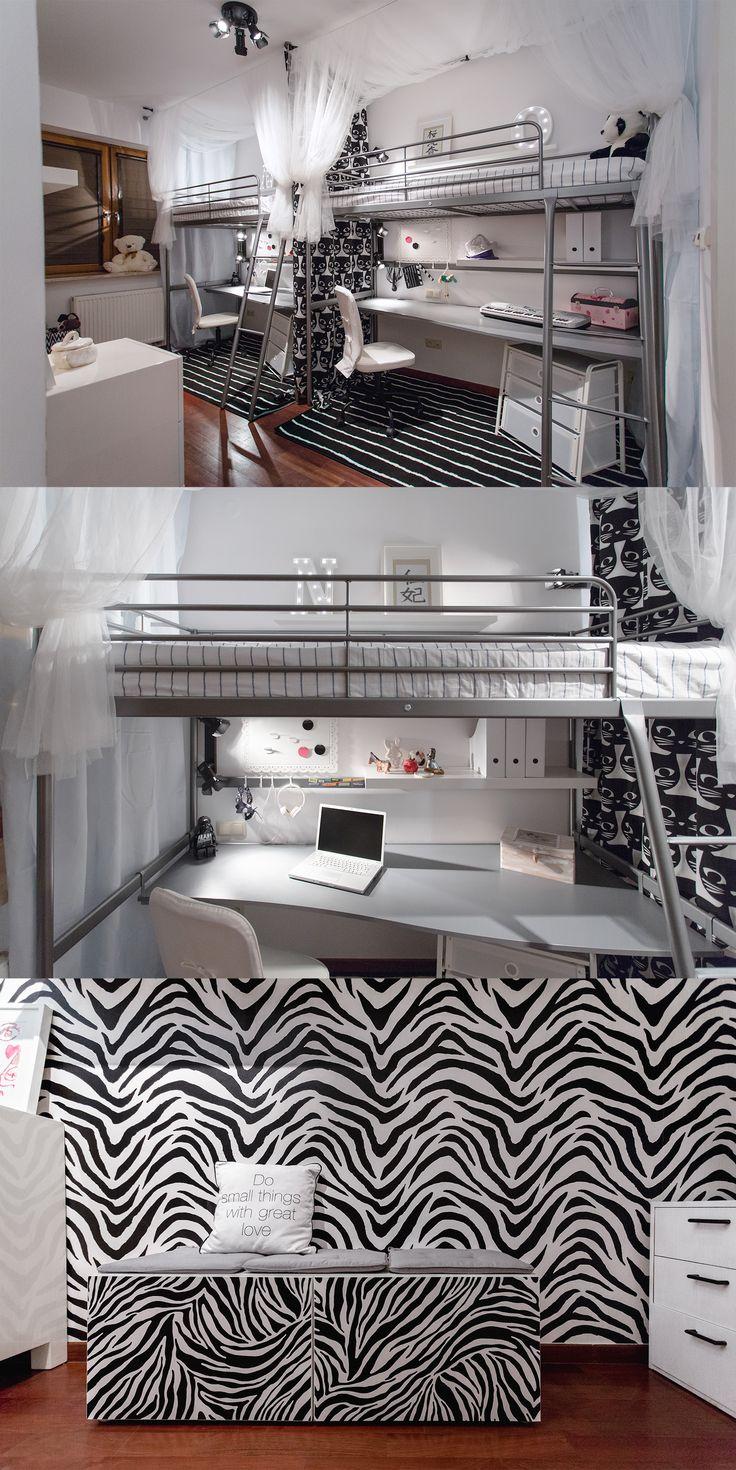Pokój dwóch dorastających sióstr, wygenerowany z sypialni rodziców.  Dziewczyny marzyły o motywie zebry, deklarując gotowość na monochromy.