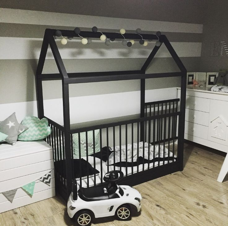 #kids #room #home decor #black and #white #house #room #baby #bed #bedhouse