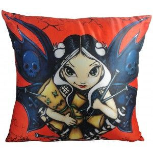 Voodoo Fairy Pillow Cushion by Jasmine Beckett-Griffth - New at GothicPlus.com - your source for gothic clothing jewelry shoes boots and home decor.  #gothic #fashion #steampunk