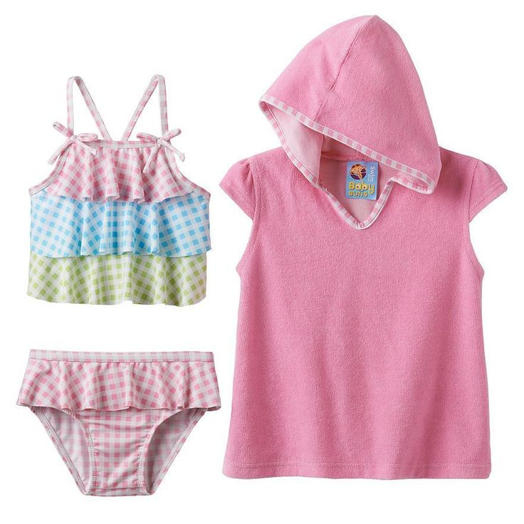 Checkered Tankini Swimsuit & Cover-Up Set - Size 2T NWT Toddler Girls Baby Buns #BabyBuns #SwinsuitandCoverUp