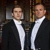 Still of Hugh Bonneville and Dan Stevens in Downton Abbey