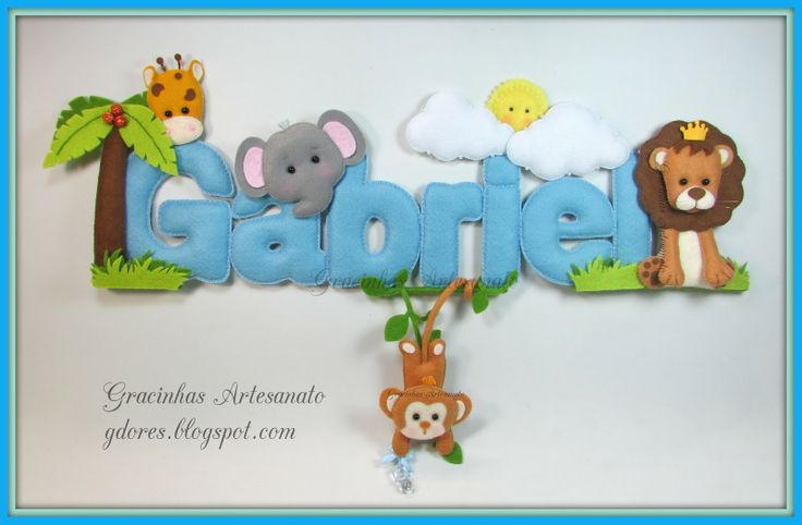 Safari themed name banner Handmade by Gracinhas Artesanato