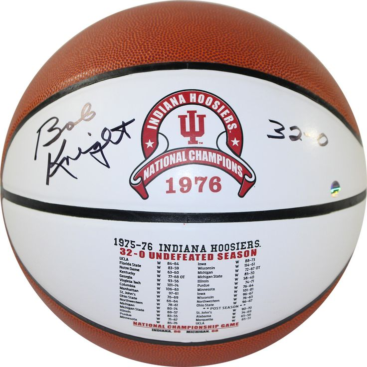 Bob Knight Signed Indiana Hoosiers Undefeated Season Games & Scores White Logo Basketball w/ '32-0' Insc