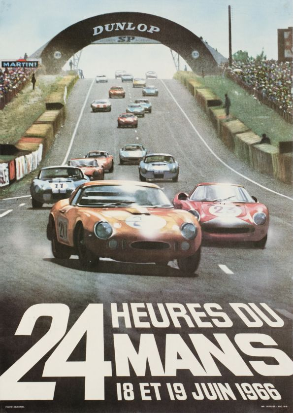 "Le Mans, 24h du Mans 1966 (Delourmel Andre / 1966) ""24 Hours of Le Mans 1966"", original poster for the world famous car race."