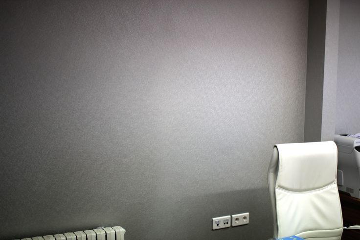 Detalle de la pared de una oficina revestida con Vescom: fácil de mantener, higiénico y de alta calidad