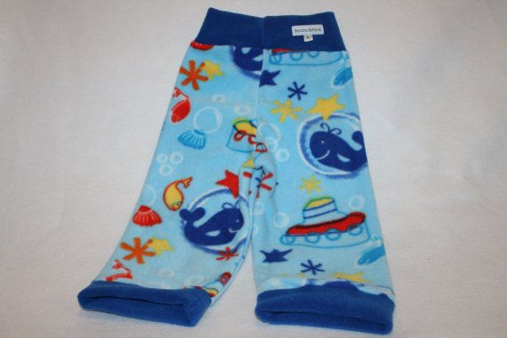 Ships Ahoy large fleece longies featuring ocean by bananabottoms, $16.50