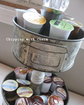 K Cup storage from old cake pans by Chipping with Charm, featured @totgreencrafts
