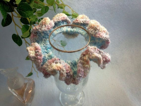 "Crocheted Frilled Scrunchy / Scrunchie / Japanese hand kawaii shushu / -3.9 "" (10cm) / #64 by YuminaCafe, ¥500"