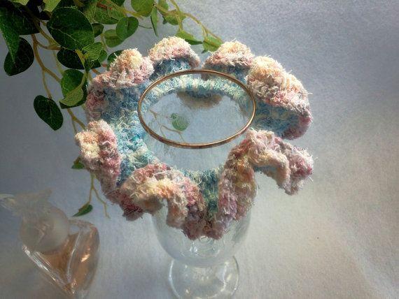 "Crocheted Frilled Scrunchy / Scrunchie / Japanese hand kawaii shushu / -3.9 "" (10cm) / #64 by YuminaCafe, ¥500"
