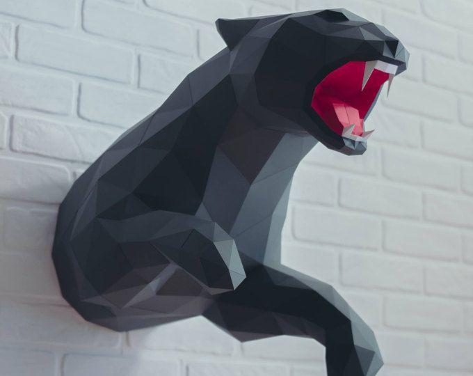 Panther papercraft, Jaguar, Leopard, paper panther, origami jaguar, 3d leopard, polygonal, Make your own trophy, lowpoly, DIY template, PDF