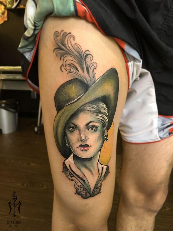 Miss Olivé #neotraditional #tattoos #inked #vintagepotrait #newtattoos #tatts #colors #art
