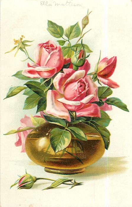 roses, pink blooms & buds in globular golden glass vase, one bud on table