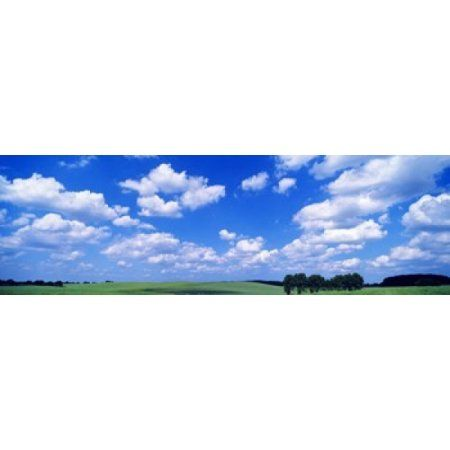 Cumulus Clouds With Landscape Blue Sky Germany USA Canvas Art - Panoramic Images (36 x 12)