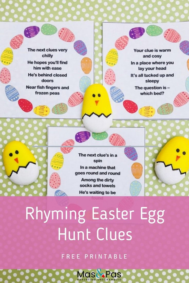 graphic about Printable Easter Egg Hunt Clues called Easter egg hunt clues: Absolutely free printables Easter crafts