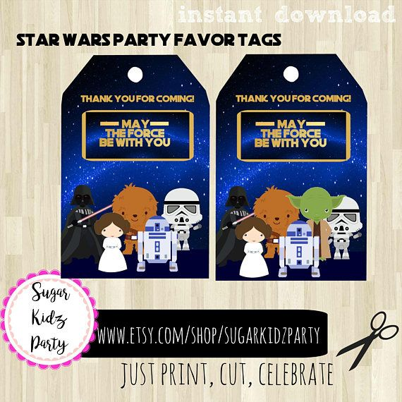 70% star wars favor tags, party favor tags, star wars party, star wars party labels, kids party tags, favor bag tags, star wars favor bag,