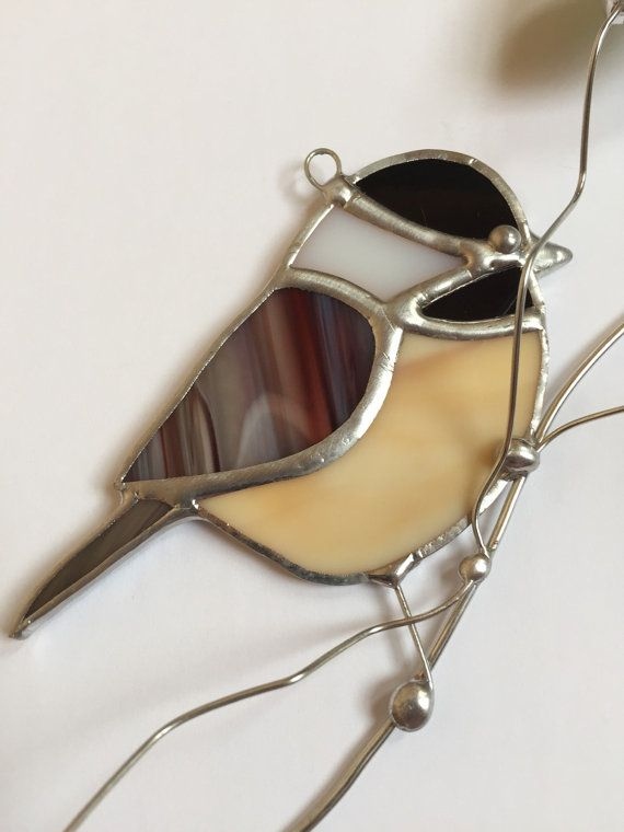 NEW design for 2015 Chickadee stained glass by seasonaltreasures