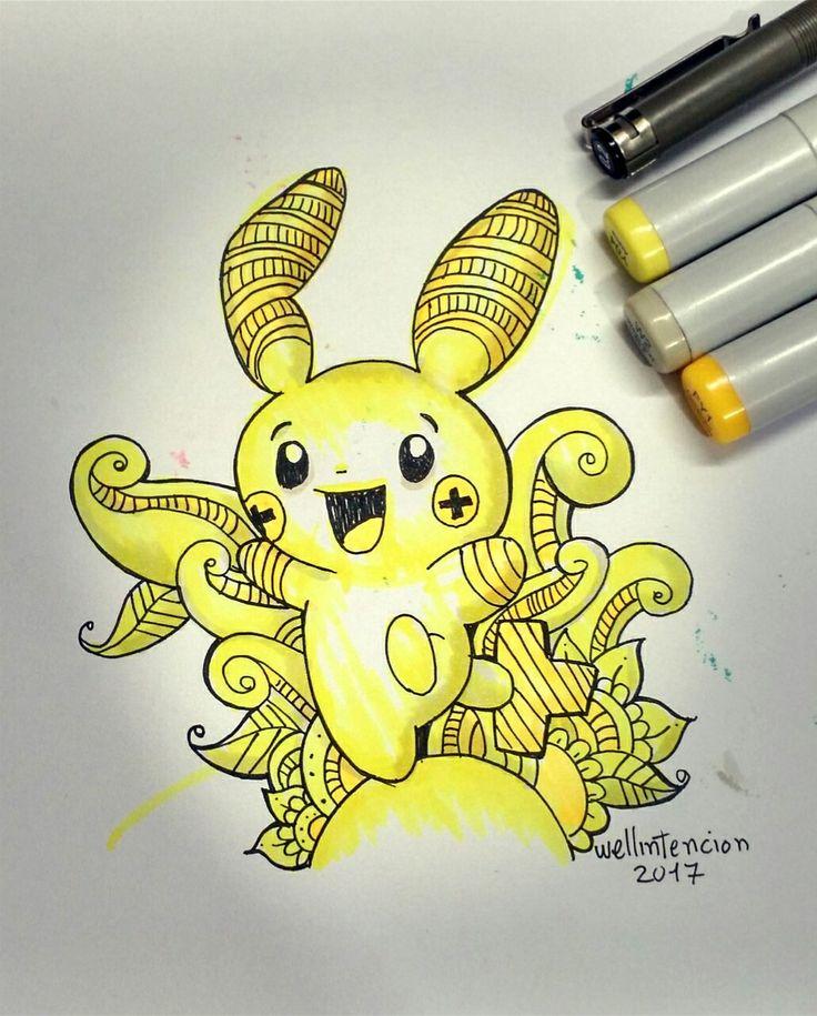 Doodle art plusle #pokemon #yellow #art #challenge #copic