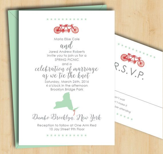 Bicycle Wedding Invitation - Spring Wedding State Silhouette - Printable, DIY