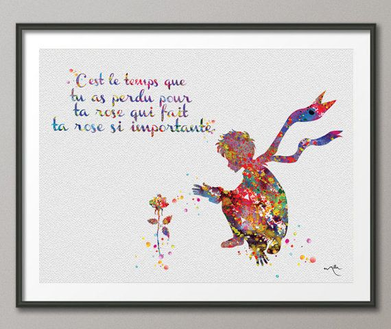 The Little Prince and Rose Quote Le Petit Prince by CocoMilla