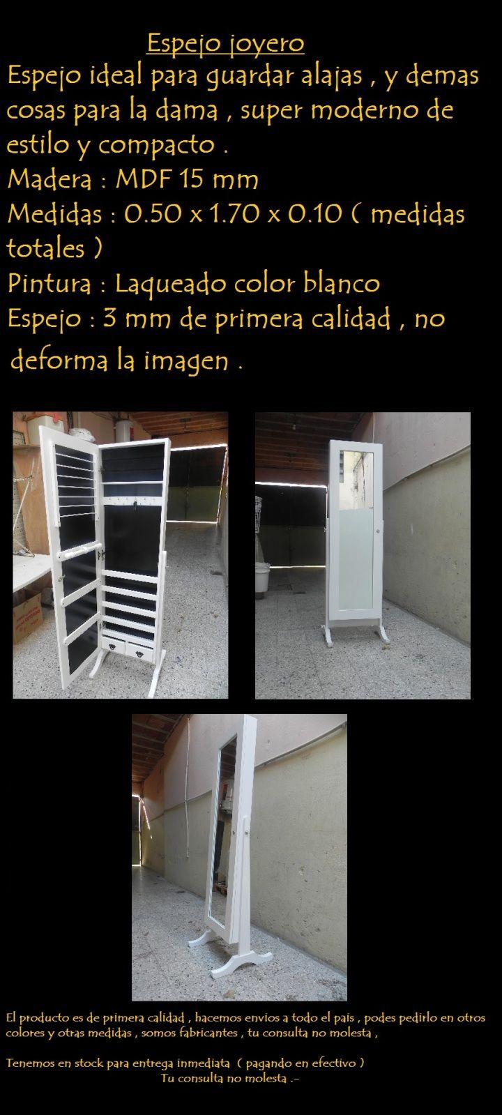 Espejo Joyero , Alahero , Espejo De Pie Laqueado - $ 3.400,00