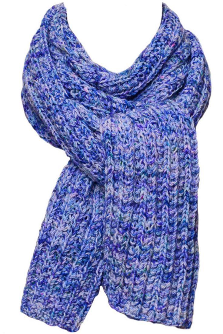 Hand Knit Scarf - Bachelor Button Blue Trail Ridge Rib Wool by StudioatRedTopRanch on Etsy