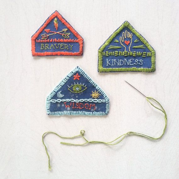MERIT BADGES pdf embroidery pattern, summer camp vibes, scout patches, gifts for kids, wisdom, bravery, kindness awards by cozyblue on etsy