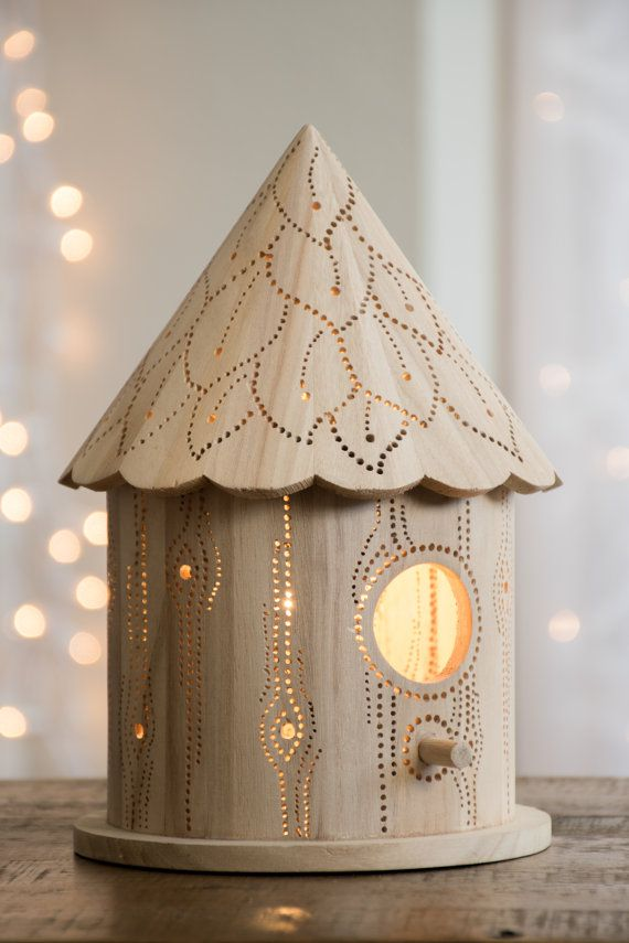 Birdhouse Night Light - Woodland Nursery Nightlight - Baby / Kid's Room Lamp by LightingBySara