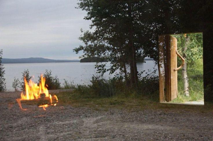 Fire, lake and door