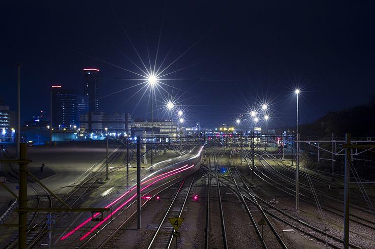 Railroads from a bridge at night