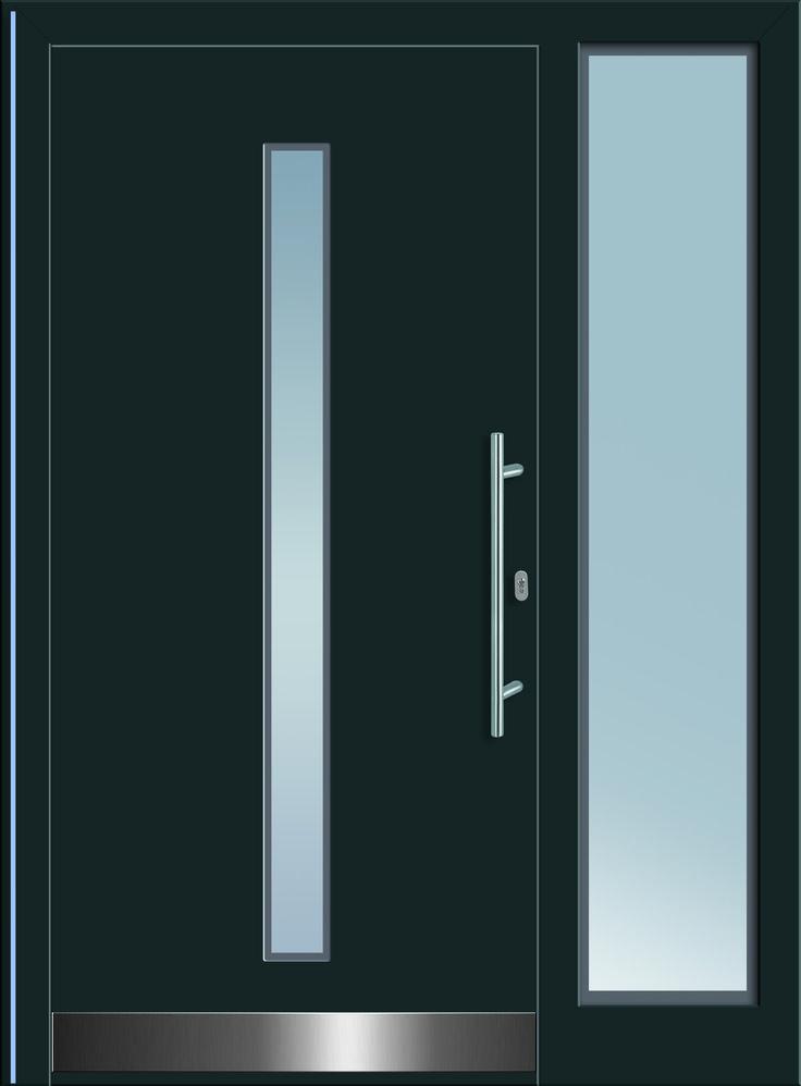 Wasat 1 Aluminium-Eingangstüre in dunkelgrau mit Glasausschnitt in Satinato-Glas mit Edelstahl-Sockelblech & Edelstahl-Stangengriff.