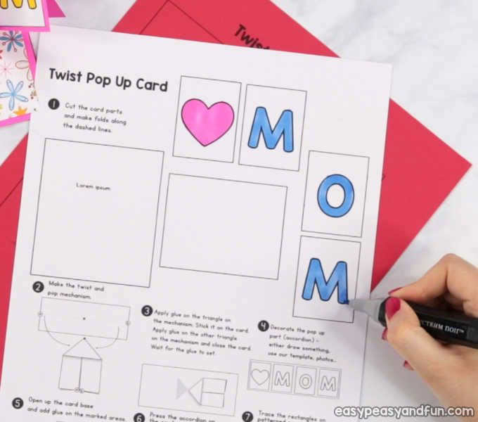 Twist And Pop Mother S Day Card Heart Pop Up Card Mothers Day Card Template Pop Up Card Templates