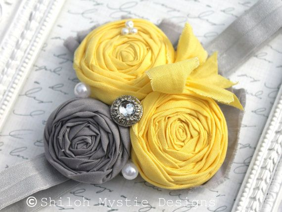 Yellow Shabby Chic Headband- Grey and Yellow HEADBANDS-Rosette Headbands-Gray Headband-Baby Headbands-Shabby Headbands-Vintage Bows