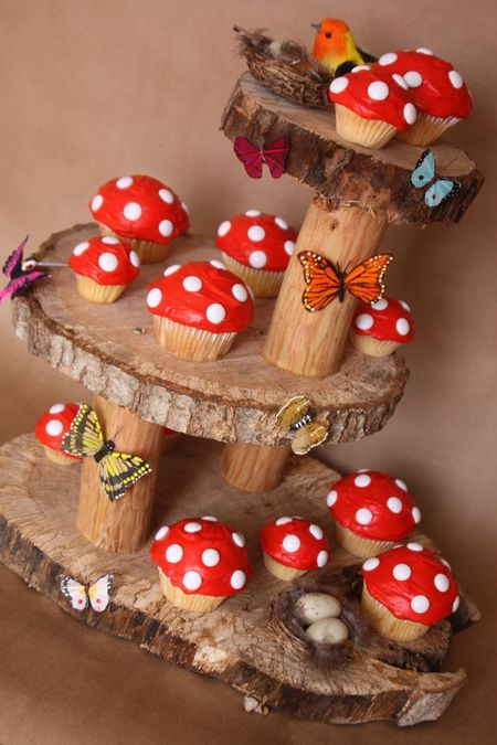 Toadstool cupcakes and stand for for a forest school party