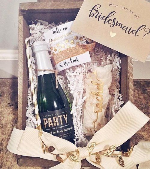 "BRIDESMAID PROPOSAL BOX ""MUST HAVES"" 1. Stemless champagne flute with each girl's name. 2. Personalized mini bottles of bubbly with labels from @shoplabelwithlove 3. Matching straws to sip bubbly when they pop to say ""yes"" 4. ""Help me tie the knot"" hair ties ‍♀️ 5. A card to write a special note to each of your faves Thank you @rachsmith () for including us in your carefully curated bridesmaid boxes! We being a part of your special wedding planning memories."