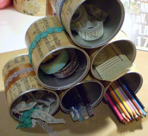 Recycled Tin Cans - A Crafty Organizer Tutorial