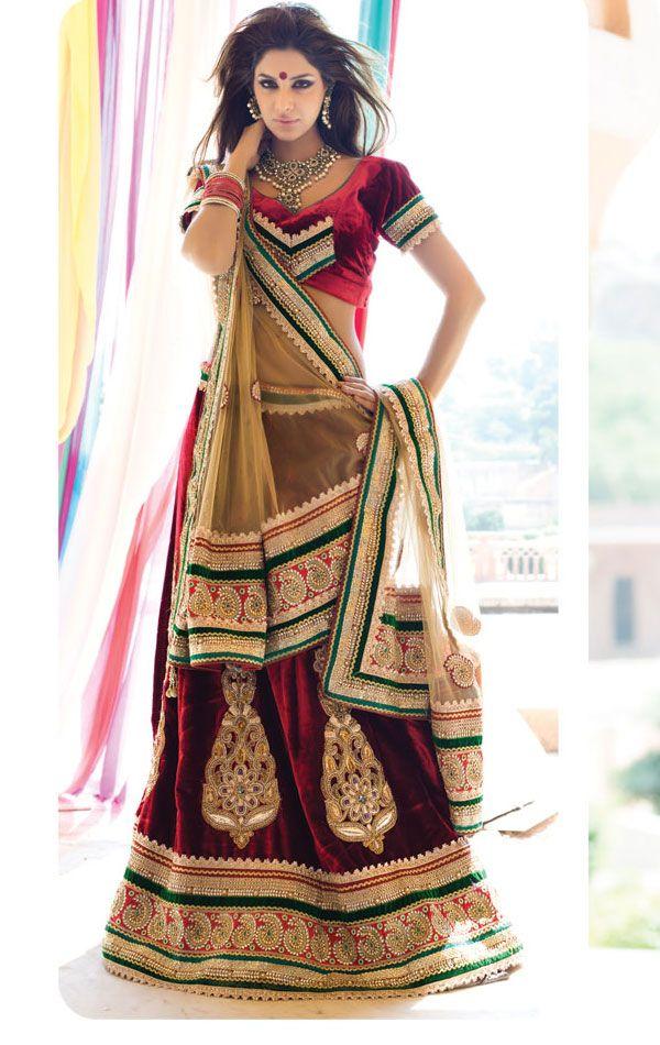 Maroon Color Velvet Designer Lehenga Choli Set Color- Maroon . Fabric- Velvet .