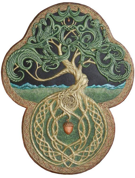 The Celtic Tree of Life- Cast Paper – Large – Tree – Green – Arbor – Big Tree – Great Oak – Acorn – yggdrasil