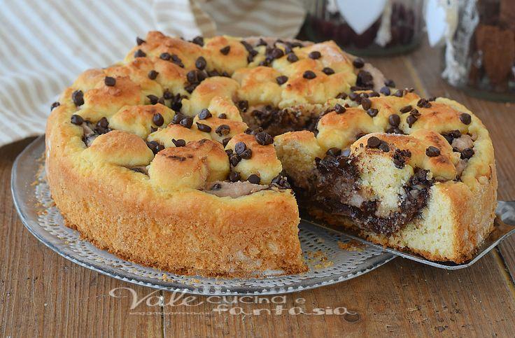 Torta ricotta e nutella ricetta dolce facile e veloce, ottima a colazione e merenda, pratica da realizzare, servono solo una ciotola ed un cucchiaio!