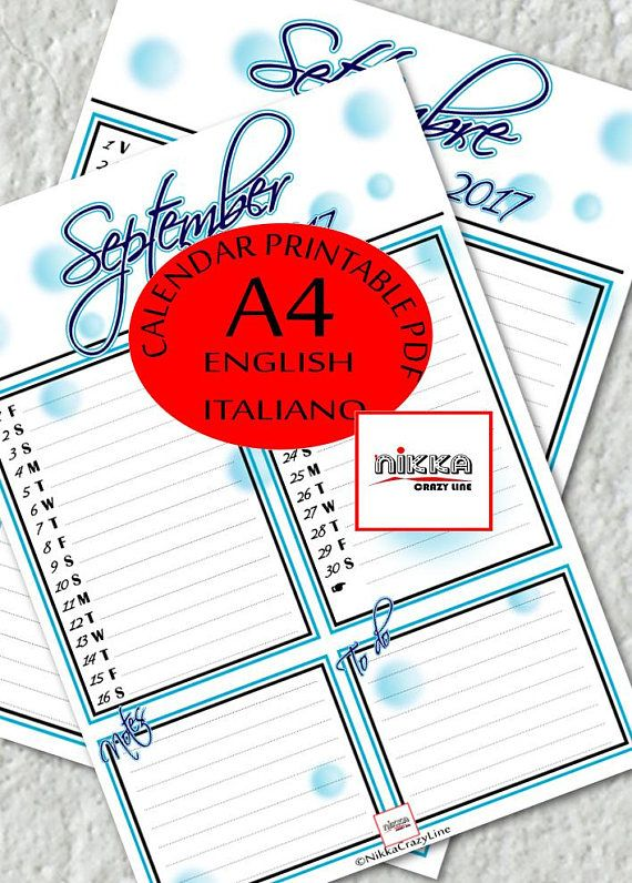 CALENDARIO 2017 mese SETTEMBRE planner stampabile  A4  pdf - SEPTEMBER monthly PRINTABLE calendar 2017 PLANNER - A4 - pdf - instant download - English and Italian version - blue bubbles