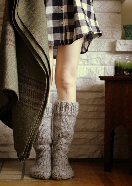 No pants, flannel shirt, cozy blanket and snuggly wool knit socks...yes please