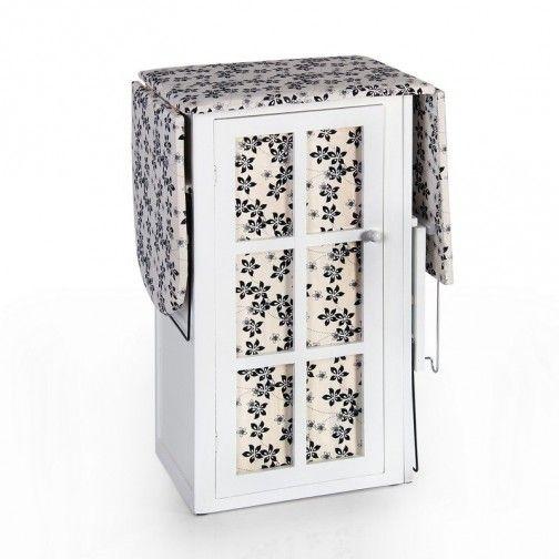 Mueble plancha madera blanco flores negras
