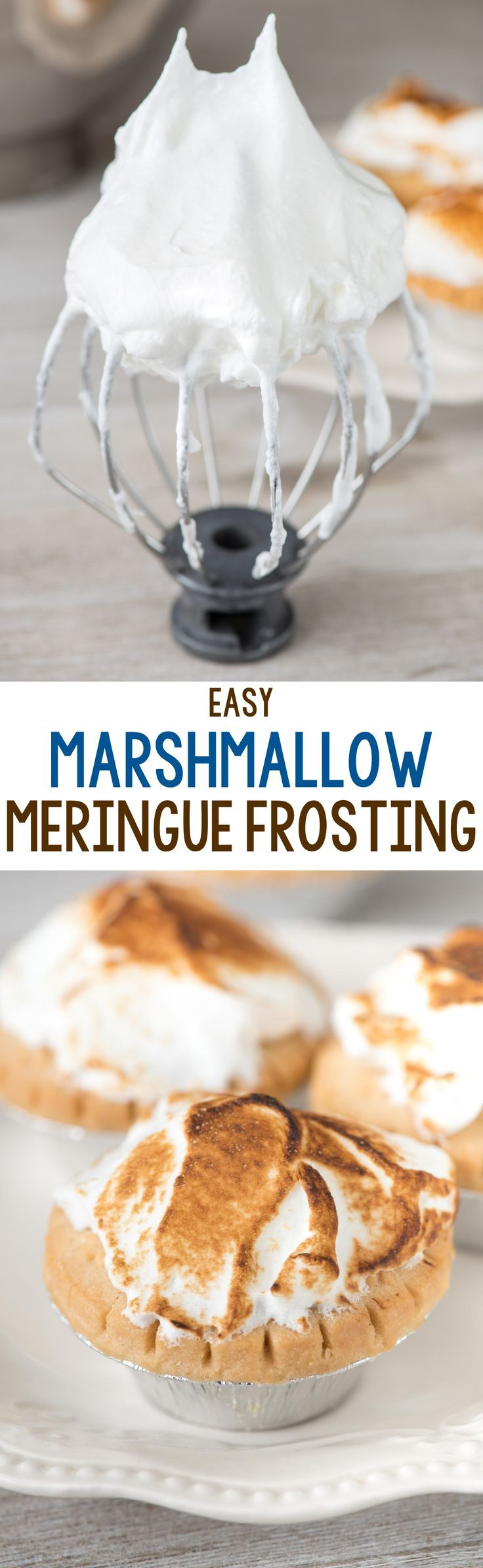 easy-Easy Marshmallow Meringue Frosting - this meringue tastes like a melted marshmallow and is the perfect way to dress up pies, cupcakes, and brownies!-meringue-frosting