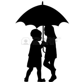 Deux petites filles sous un parapluie photo
