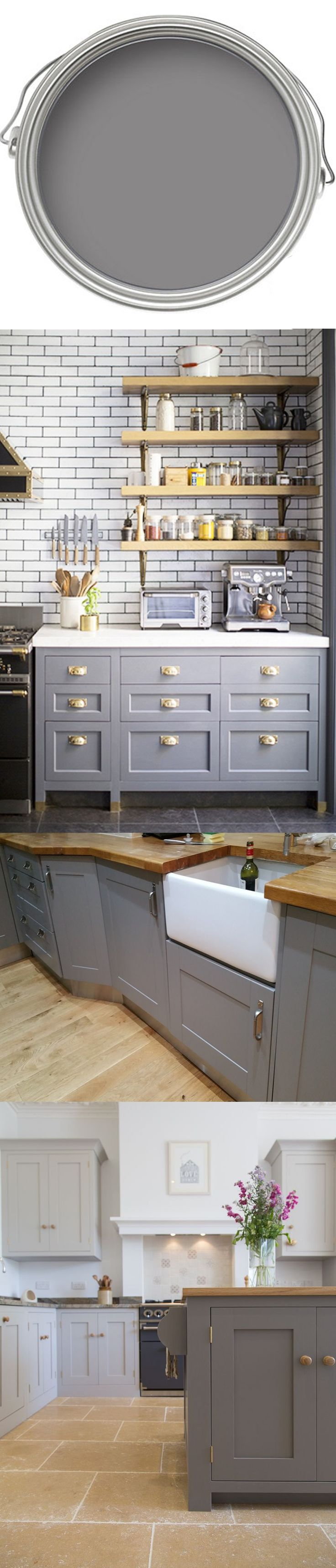 A smart selection for wooden cabinet frontals or an accent wall, Mole's Breathe by Farrow & Ball creates a soft and moody atmosphere, evoking the sophistication of grey palettes without being cold. This is the perfect pick for kitchen islands. http://www.deterra-kitchens.co.uk/blog/get-the-look-natures-finest/