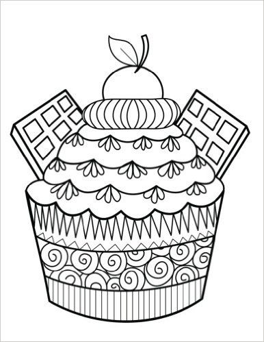 78 best cupcakes cakes coloring pages for adults images for Coloring pages of cakes and cupcakes